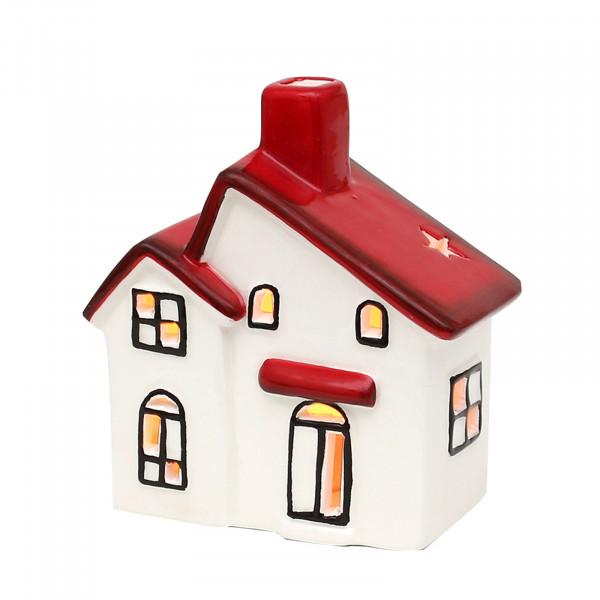 SIGRO weiß-rot glasiert Windlichthaus