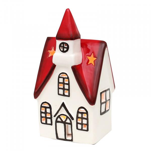 Sigro rot-weiß glasiert Windlicht Kirche