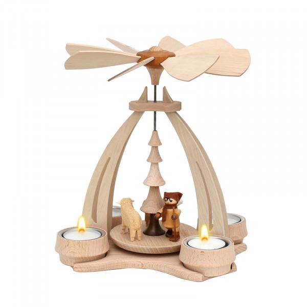 SIGRO Schafe Schäfer Holz Teelicht-Tischpyramide