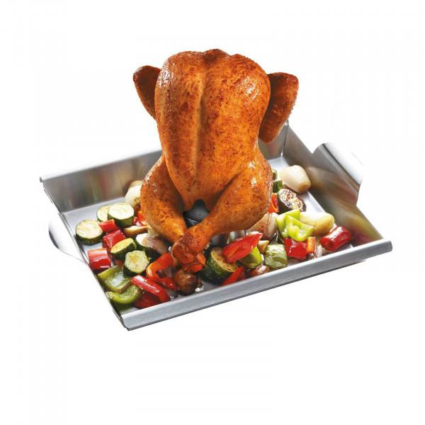GEFU BBQ Gemüse- und Hähnchengriller mit Schaschlik-Rack