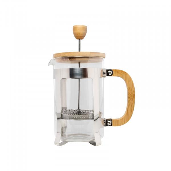 neuetischkultur aus Glas mit Bambusdeckel und Griff Kaffeebereiter
