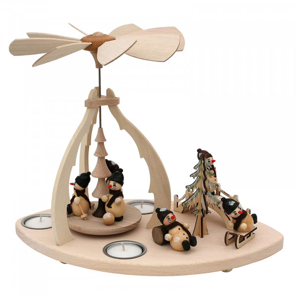 SIGRO Schneemannfiguren Holz Teelicht-Tischpyramide