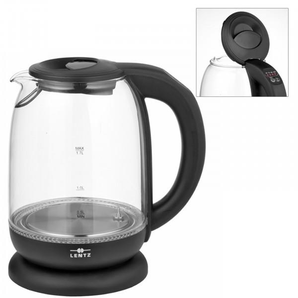 Lentz 1,7 Liter Glas Schwarz Wasserkocher