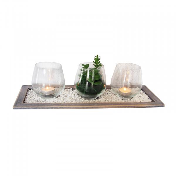 HTI-Line Viola Deko-Tablett Wood 4-teilig