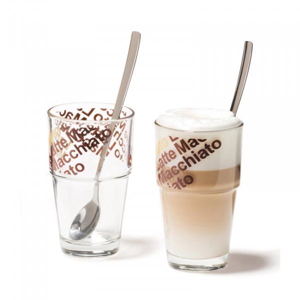 Leonardo Solo Café Latte mit Löffeln 4er-Set