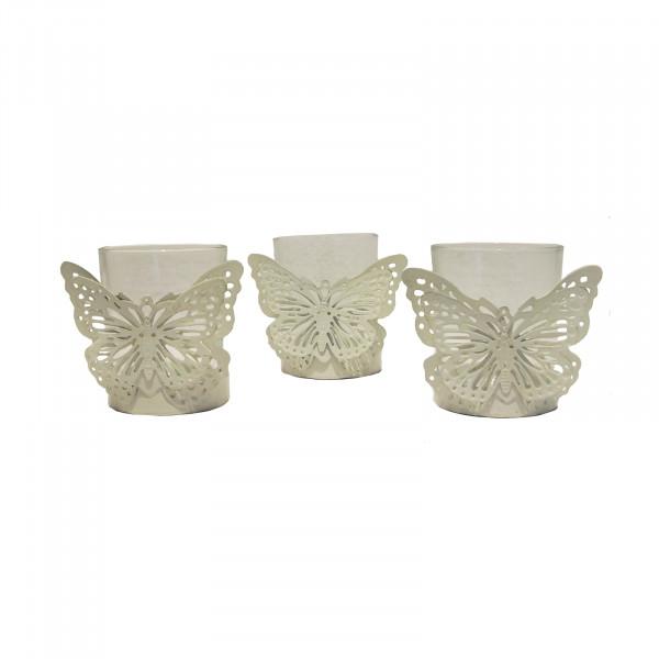 HTI-Line Viola Teelichthalter Butterfly 3er Set
